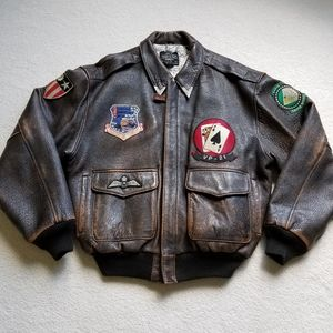 Dad Day GIFT: AVIREX leather US Army Bomber Jacket
